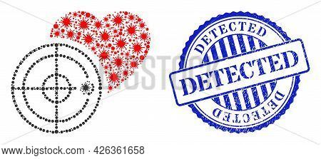Covid-2019 Mosaic Love Heart Radar Icon, And Grunge Detected Seal Stamp. Love Heart Radar Collage Fo