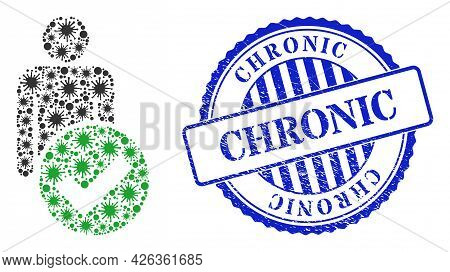 Contagious Mosaic Valid Man Figure Icon, And Grunge Chronic Seal Stamp. Valid Man Figure Mosaic For