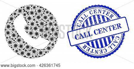 Bacilla Mosaic Phone Icon, And Grunge Call Center Seal. Phone Mosaic For Medical Templates, And Scra
