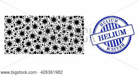 Covid-2019 Collage Rectangle Icon, And Grunge Helium Seal Stamp. Rectangle Collage For Pandemic Temp