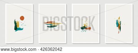 Creative Minimalist Hand Painted Abstract Art Background With Brush Stroke Abstract Art. Design For