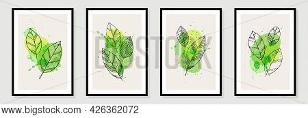 Botanical Wall Art Vector Set. Tropical Foliage Line Art Drawing With Abstract Shape. Abstract Plant