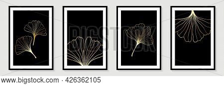 Set Of Creative Minimalist Hand Draw Illustrations Floral Outline Golden Ginkgo Biloba Leaves On Bla