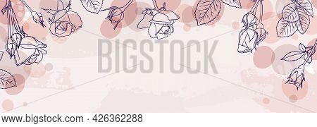 Banner Background Of Creative Minimalist Hand Draw Illustrations Floral Outline Rose Pastel Pink Sim