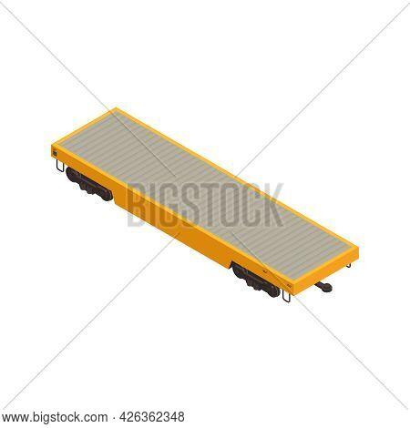 Isometric Freight Train Platform For Cargo Transportation 3d Vector Illustration