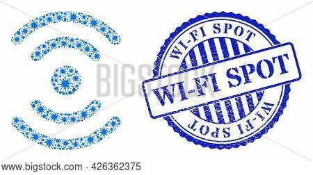 Coronavirus Mosaic Radio Source Icon, And Grunge Wi-fi Spot Seal Stamp. Radio Source Mosaic For Isol