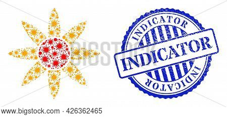 Viral Collage Sun Shine Icon, And Grunge Indicator Stamp. Sun Shine Collage For Medical Images, And