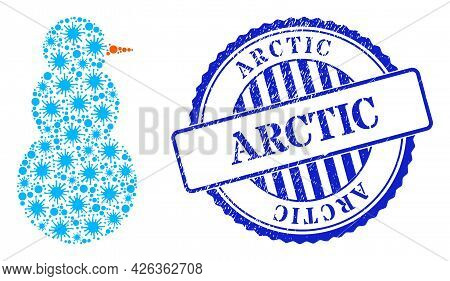 Contagious Mosaic Snow Man Icon, And Grunge Arctic Stamp. Snow Man Mosaic For Pandemic Templates, An
