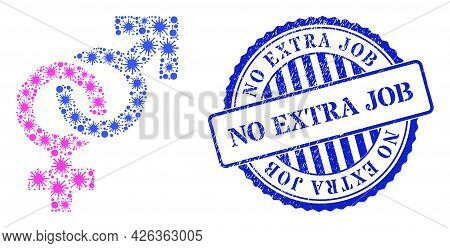 Viral Mosaic Straight Sex Symbol Icon, And Grunge No Extra Job Seal Stamp. Straight Sex Symbol Mosai
