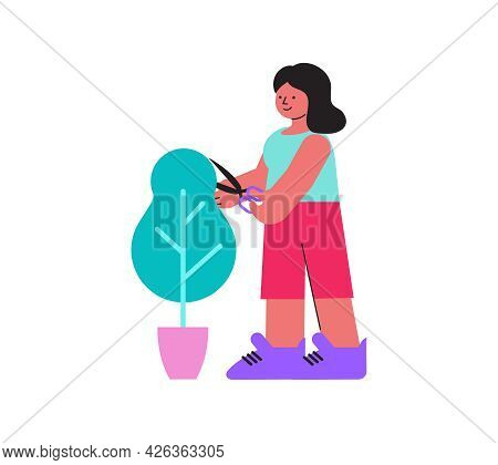 Floristry Flat Icon With Happy Woman Trimming Potted Tree Vector Illustration