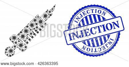 Contagious Collage Medical Injection Icon, And Grunge Injection Stamp. Medical Injection Collage For