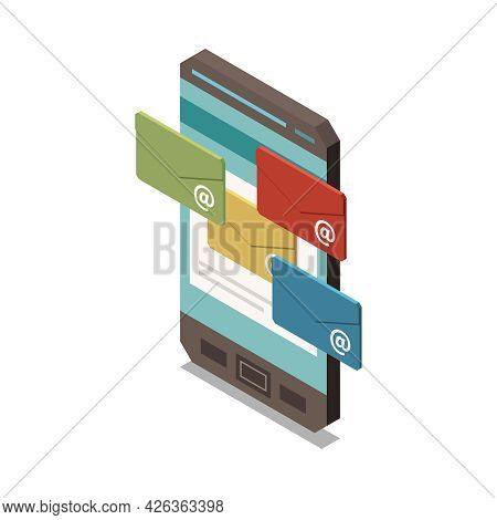Marketing Strategy Isometric Icon With Smartphone And Unread Email Messages 3d Vector Illustration