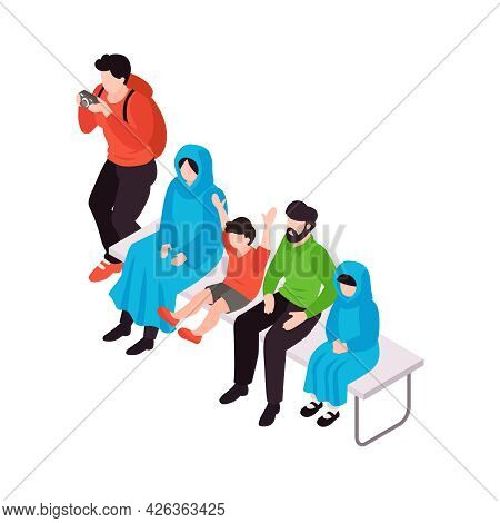 Show Spectators Watching Performance And Taking Photos Isometric Icon 3d Vector Illustration