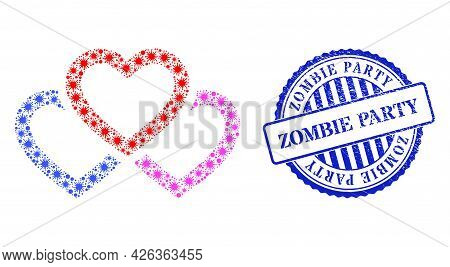 Coronavirus Collage Triple Love Hearts Icon, And Grunge Zombie Party Seal Stamp. Triple Love Hearts