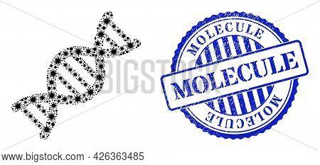 Covid Collage Genome Molecule Icon, And Grunge Molecule Seal. Genome Molecule Collage For Pandemic I