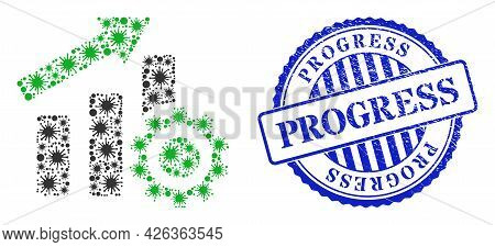 Cell Mosaic Progress Chart Settings Icon, And Grunge Progress Stamp. Progress Chart Settings Collage