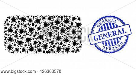 Cell Mosaic Rounded Rectangle Icon, And Grunge General Seal Stamp. Rounded Rectangle Collage For Iso