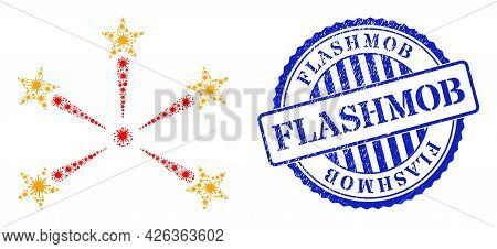 Covid Mosaic Star Fireworks Icon, And Grunge Flashmob Seal Stamp. Star Fireworks Mosaic For Breakout