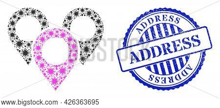 Virulent Mosaic Map Marker Group Icon, And Grunge Address Stamp. Map Marker Group Mosaic For Pandemi