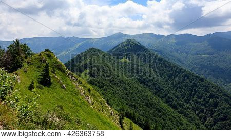 Beautiful Landscape View From The Baraniarky Peak In Mala Fatra, Slovakia. Green Hilly Landscape.