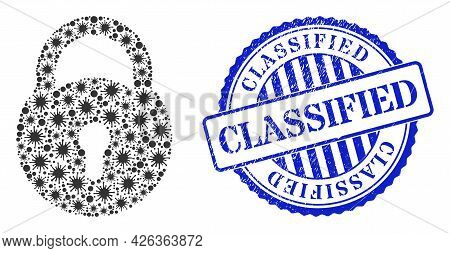 Coronavirus Mosaic Lock Icon, And Grunge Classified Seal Stamp. Lock Mosaic For Breakout Images, And