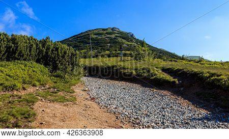 Mountain Road Leading To A Mountain. Chleb, Mala Fatra, Slovakia.