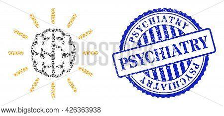 Coronavirus Mosaic Mind Light Icon, And Grunge Psychiatry Seal Stamp. Mind Light Mosaic For Pandemic