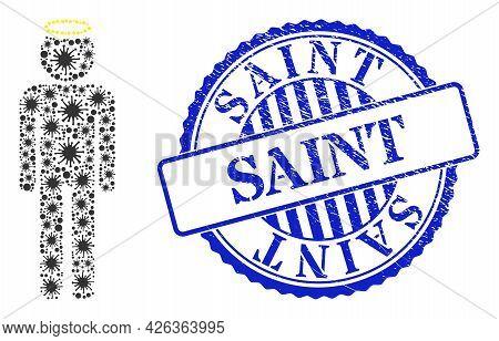 Bacilla Mosaic Holy Man Figure Icon, And Grunge Saint Seal Stamp. Holy Man Figure Mosaic For Breakou