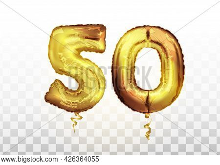 Golden Foil Number Fifty Metallic Balloon. Party Decoration Golden Balloons. Anniversary Sign For Ha