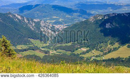 View Of A Rocky Mountain Pass From A Mountain Meadow. Vratna Dolina, Tiesnavy, Mala Fatra, Slovakia.