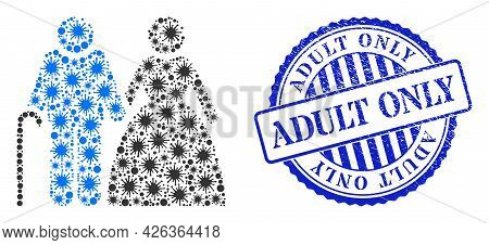 Infection Collage Grandparents Couple Icon, And Grunge Adult Only Seal Stamp. Grandparents Couple Co