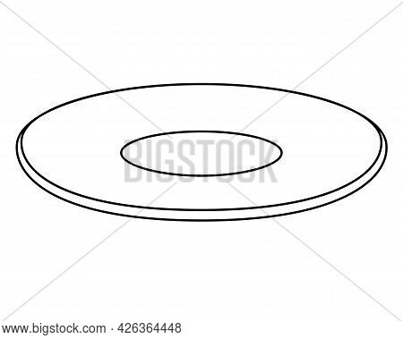 Plate Or Saucer - Vector Linear Picture For Coloring. Outline. An Empty, Clean Plate. Small Saucer