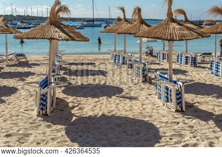 Colonia De Sant Jordi, Spain; July 02 2021: General View Of The Beach Of The Majorcan Town Of Coloni