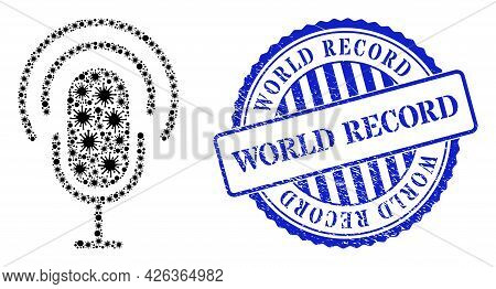 Covid-2019 Mosaic Podcast Icon, And Grunge World Record Seal Stamp. Podcast Mosaic For Pandemic Temp