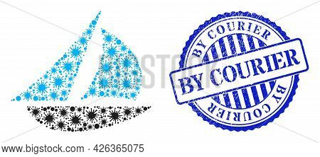 Covid Collage Sailing Boat Icon, And Grunge By Courier Seal Stamp. Sailing Boat Collage For Pandemic