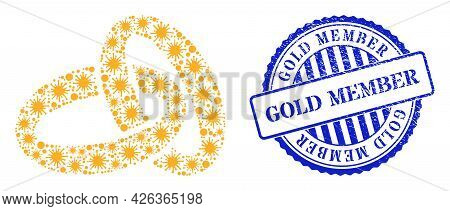 Virulent Mosaic Gold Rings Icon, And Grunge Gold Member Stamp. Gold Rings Mosaic For Medical Templat