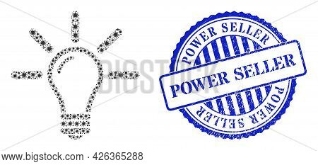 Covid Collage Light Bulb Icon, And Grunge Power Seller Seal Stamp. Light Bulb Collage For Epidemic T