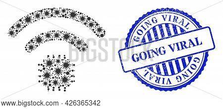 Covid-2019 Collage Radio Sensor Icon, And Grunge Going Viral Seal. Radio Sensor Collage For Pandemic