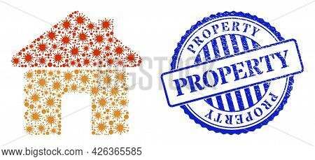 Covid Mosaic Wooden House Icon, And Grunge Property Seal Stamp. Wooden House Collage For Isolation T