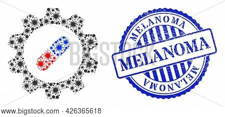 Viral Collage Pharma Industry Icon, And Grunge Melanoma Seal Stamp. Pharma Industry Collage For Brea