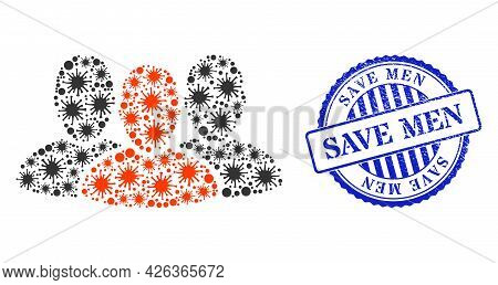 Bacterium Collage User Group Icon, And Grunge Save Men Seal Stamp. User Group Mosaic For Isolation T