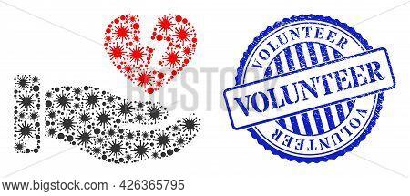 Covid-2019 Mosaic Hand Offer Broken Heart Icon, And Grunge Volunteer Seal Stamp. Hand Offer Broken H