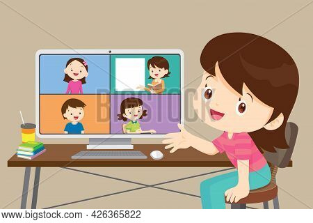 Online Learning Children Using  Computer,cute Student Girl Working With Computer, Class Of Diverse Y