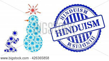 Bacilla Collage Pray To Holy Snowman Icon, And Grunge Hinduism Stamp. Pray To Holy Snowman Collage F
