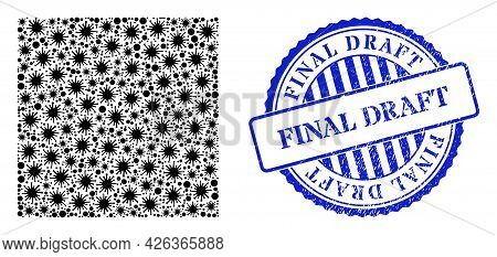 Viral Mosaic Square Icon, And Grunge Final Draft Seal Stamp. Square Collage For Pandemic Templates,