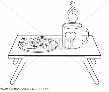 Breakfast Table With A Cup Of Coffee And A Plate Of Cookies - Vector Linear Illustration For Colorin