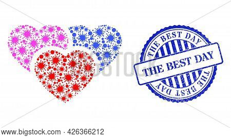 Virulent Mosaic Love Hearts Icon, And Grunge The Best Day Seal. Love Hearts Mosaic For Medical Templ