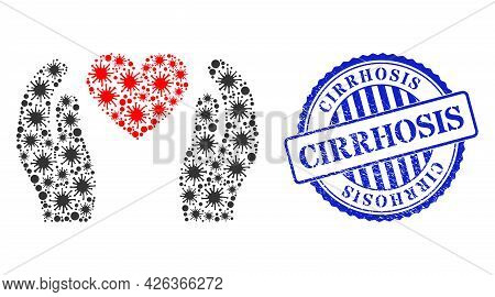 Covid-2019 Mosaic Love Heart Care Hands Icon, And Grunge Cirrhosis Seal Stamp. Love Heart Care Hands