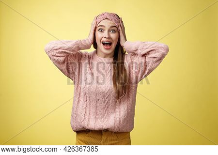 Frustrated Girl In Panic, Screaming Grabbing Head Yelling Troubled And Scared, Staring With Buged Ey