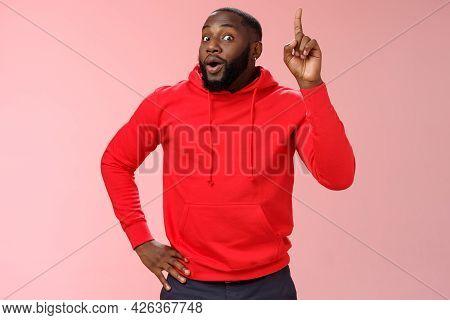 Man Got Excellent Idea Standing Excited Widen Eyes Inhale Air Perform Speech Raising Proudly Index F